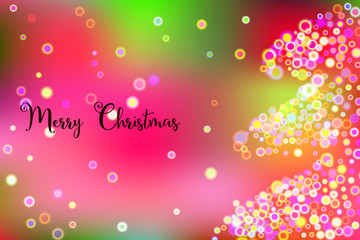 Merry Christmas vector illustration with abstract new year bokeh tree.