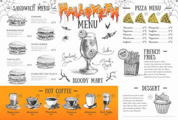 Vintage halloween menu design. Restaurant menu