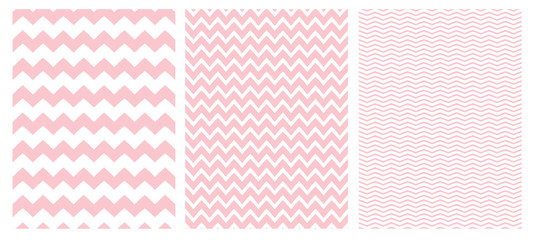 Chevron Vector Pattern Set. 3 Various Size of Chevron. White Background. Pink Simple Geometric Seamless Design.