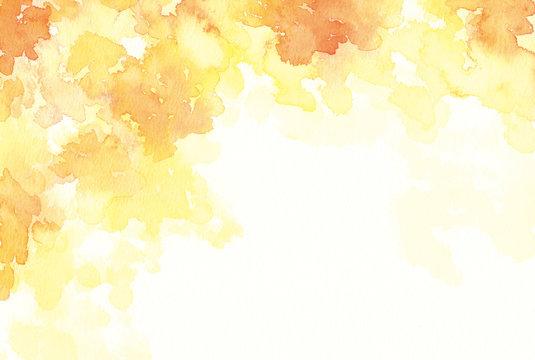 水彩 オレンジ色 紅葉イメージ