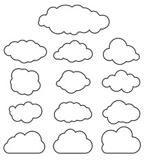Flat line art design graphic image of paper clouds  on white bac