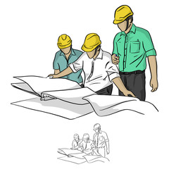 three construction engineer looking at blueprint  in construction site vector illustration sketch doodle hand drawn with black lines isolated on white background