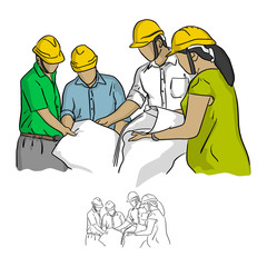 Four construction engineer working in construction site vector illustration sketch doodle hand drawn with black lines isolated on white background