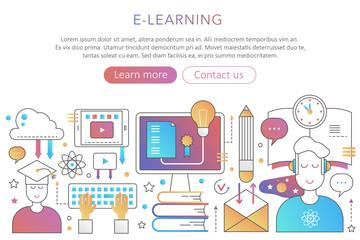Online internet education in trendy flat gradient color poster concept illustration for web design.
