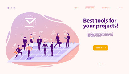 Vector web page design template for complex business solutions, project support & consulting, modern technology, service, time management, planning. Landing page. Mobile app. Flat concept illustration