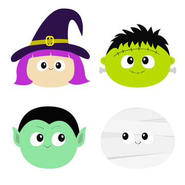 Vampire count Dracula, Mummy, whitch hat, zombie round face head icon set. Happy Halloween. Cute cartoon funny spooky baby character. Greeting card. Flat design White background.
