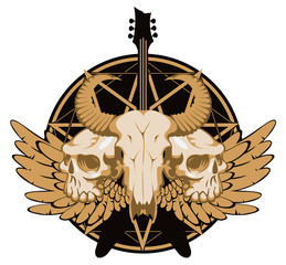Vector illustration with skulls of a horned animal and human, electric guitar and wings on the background of the Satan star. Creative illustration for t-shirt design in modern style