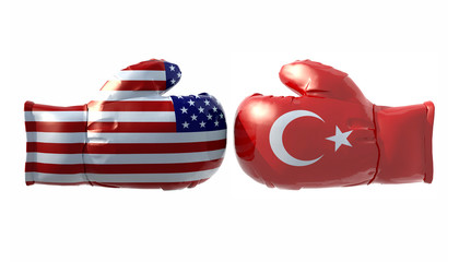 Boxing gloves with Usa and Turkey flag