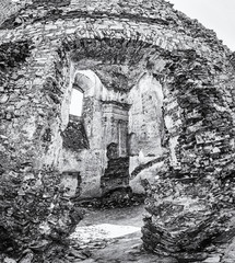 Ruins of the castle Gymes in Slovakia, colorless
