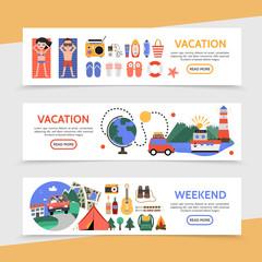 Flat Summer Travel Horizontal Banners