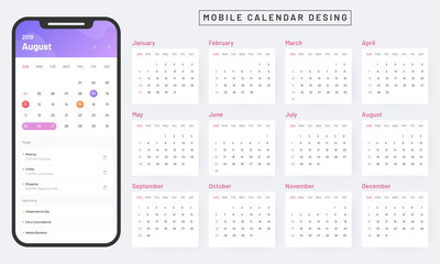 Monthly calendar app in smartphone, mobile calendar design on white background.