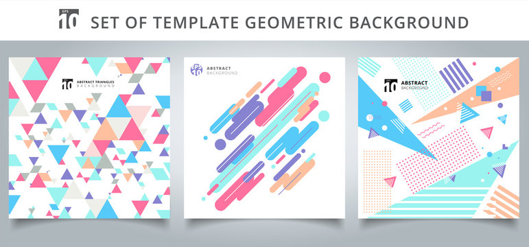 Set template geometric pattern covers design.