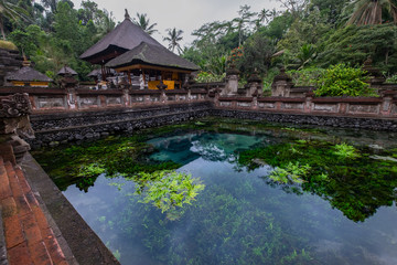 Holy spring water temple at Tirta Empul temple in Bali, Indonesia