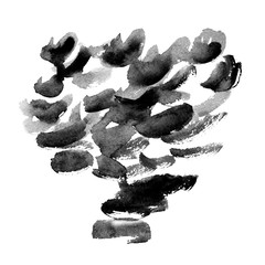 Watercolor black and grey strokes with brush texture on white background, minimalistic monochrome illustration
