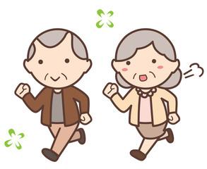 夫婦のような男性と女性の老人が走る