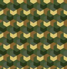 Seamless camouflage in simple Green and Brown khaki repeating pattern. Polygonal mosaic series for your design. Vector