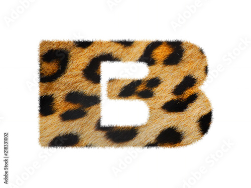 Furry text number made of leopard skin texture  Character