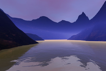 Fog over the lake, an alpine landscape, mountains, reflection on water and pink clouds in the sky.