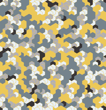 Seamless camouflage in Yellow pattern with grid. Polygonal mosaic series for your design. Vector