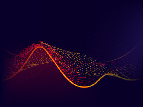 Abstract orange and yellow wave on purple background.