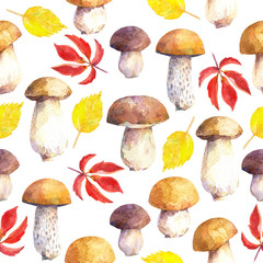 Seamless pattern with mushrooms and leaves. Hand painted in watercolor.