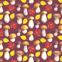 Seamless pattern with mushrooms and leaves on maroon background. Hand painted in watercolor.