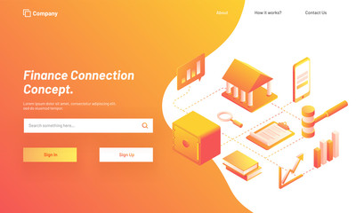 Finance Connection Concept, Isometric design for responsive web template with illustration of banking system, services with smartphone.