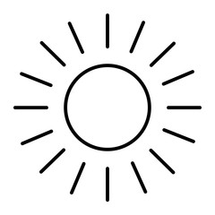 Sun thin line icon. Shining sun vector illustration isolated on white. Sun and rays outline style design, designed for web and app. Eps 10.