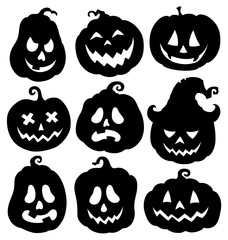 Printed roller blinds For Kids Pumpkin silhouettes theme set 3