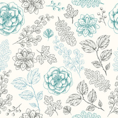 Hand drawn herb seamless pattern.