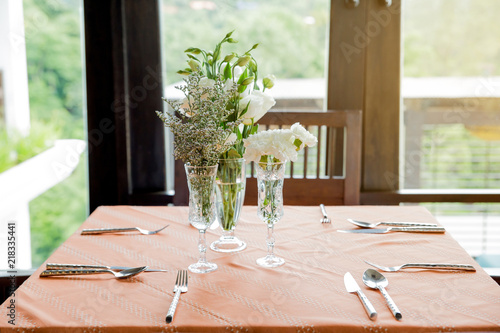 Table Set For Wedding Or Event Partywith Orange Tableclothelegant