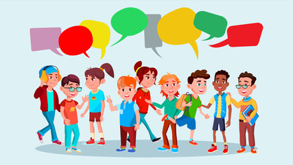 Group Of Pupils Vector. School. Mix Race. Chat Bubbles. Communication Bubble. Teamwork. Lifestyle. Message. Flat Cartoon Illustration