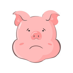 Portrait of a pig. Piglet head with emotion. Cute piggy saddy. Zodiac symbol 2019