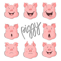 Pig vector character constructor of emotions. Portrait of a pig set. Piglet head with emotion. Cute piggy happy laughter, sad and angry. Zodiac symbol 2019.