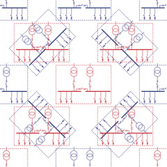 Electric wiring diagram for power transformers. Seamless pattern