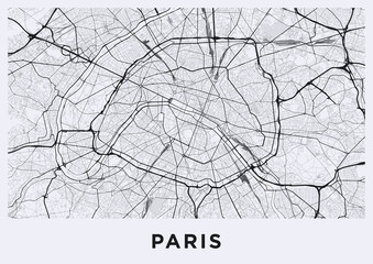 Light Paris city map. Road map of Paris (France). Black and white (light) illustration of parisian streets. Printable poster format (album).