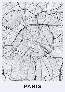 Light Paris city map. Road map of Paris (France). Black and white (light) illustration of parisian streets. Printable poster format (portrait).