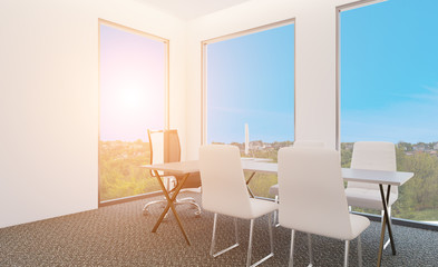 Elegant office interior. Mixed media. 3D rendering. Sunset.