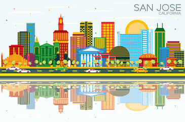 San Jose California Skyline with Color Buildings, Blue Sky and Reflections.