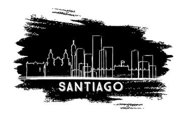 Santiago Chile City Skyline Silhouette. Hand Drawn Sketch.