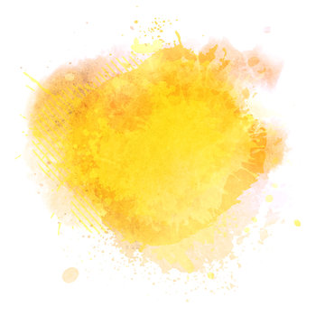 illustration of grunge watercolor spot banner with Autumn leaves and paint splashes isolated on white background.
