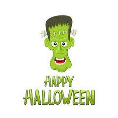 Head of Frankenstein and text Happy Halloween