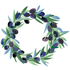 wreath of olive, olive festival in Spain, olive oil, graphic vector illustration round frame