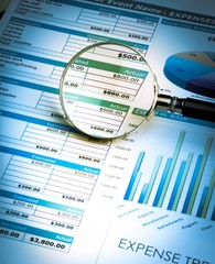 Magnifying Glass on Business Graphs and Charts