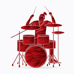 Musician playing Drum, Music band graphic vector