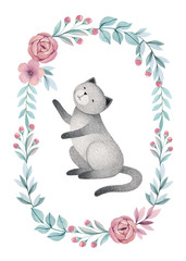 Watercolor illustration of cute cat. Perfect for greeting card