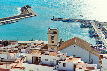 Peniscola harbor, view from the Papa Luna castle.  Spain