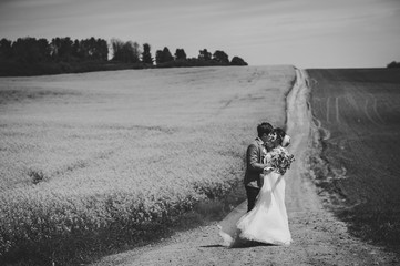 A newlywed wedding couple embrace and kissing on a straight road, country for their honeymoon. Way on summer field of rapes flowers, canola field. black white photo.