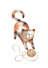 Watercolor illustration of a cute cat