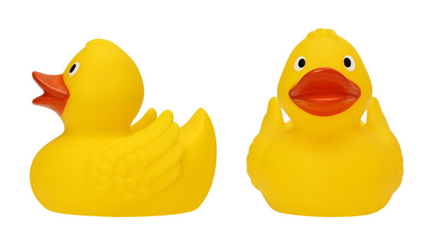 set with yellow rubber duck on a white background isolated